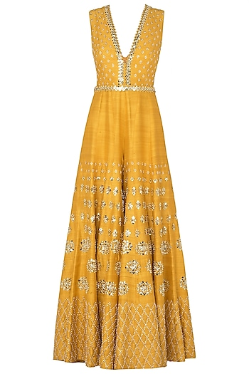 Mustard Yellow Embroidered Jumpsuit by Papa Don't Preach by Shubhika