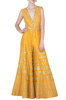 Mustard Yellow Embroidered Jumpsuit by Papa Don't Preach by Shubhika-Shop By Style
