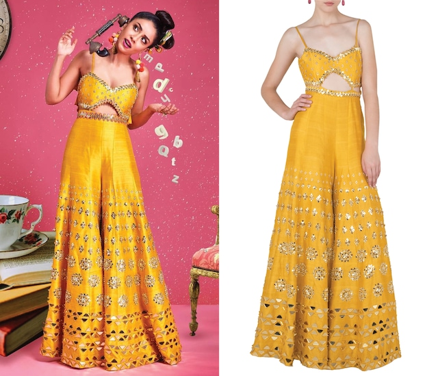 Mustard Yellow Embroidered Cutout Jumpsuit by Papa Don't Preach by Shubhika