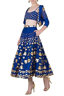 Blue Embroidered Short Lehenga with Bralette and Jacket by Papa Don't Preach by Shubhika