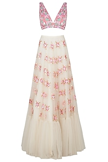 Blush and White Embroidered Lehenga Set by Papa Don't Preach by Shubhika