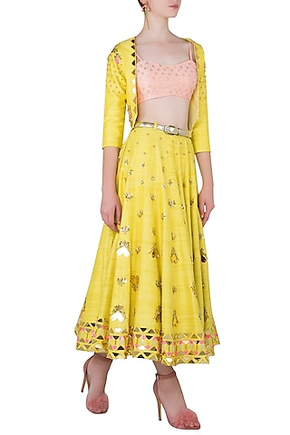 Yellow Embroidered Short Lehenga with Jacket and Peach Bralette by Papa Don't Preach by Shubhika