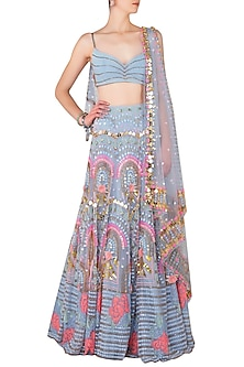 Millenial Blue Embroidered Lehenga Set by Papa Don't Preach by Shubhika