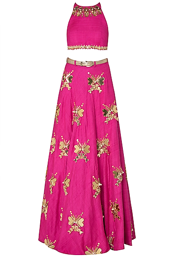 Hot Pink Embroidered Crop Top with Lehenga Skirt by Papa Don't Preach by Shubhika