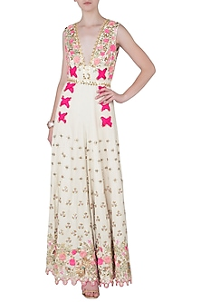 Ivory Embroidered Jumpsuit by Papa Don't Preach by Shubhika