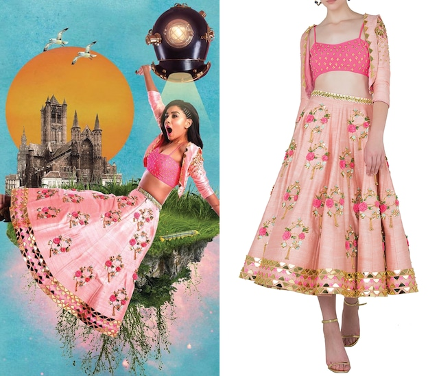 Blush Pink Embroidered Short Lehenga with Jacket and Bustier by Papa Don't Preach by Shubhika