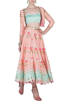 Blush Pink and Mint Green Embroidered Short Lehenga with Jacket and Bralette by Papa Don't Preach by Shubhika