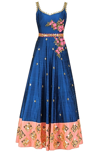 Mykonos Blue Acrylic Embroidered Gown with Cutwork Belt by Papa Don't Preach by Shubhika