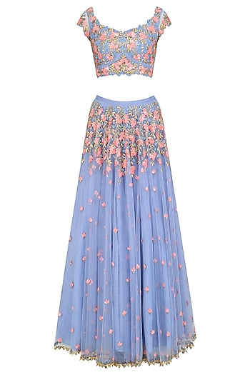 Lilac Floral Embroidered Skirt and Blouse Set by Papa Don't Preach by Shubhika