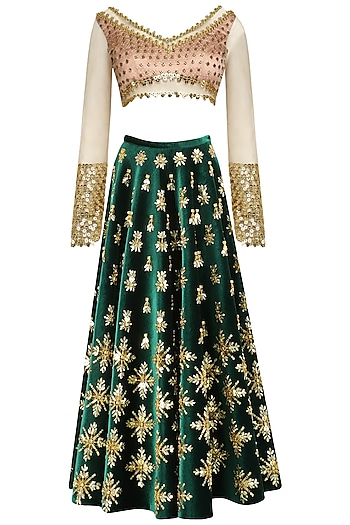 Dark Green Acrylic Embroidered Skirt and Blouse Set by Papa Don't Preach by Shubhika