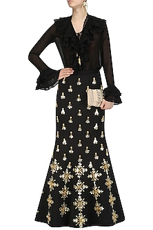 Black Acrylic Embroidered Mermaid Skirt and Shirt Set by Papa Don't Preach by Shubhika