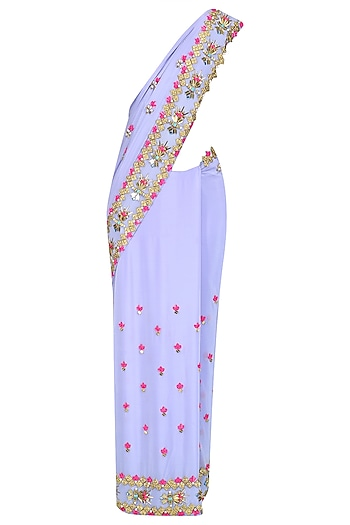 Periwinkle Lilac Embroidered Saree and Blouse Set by Papa Don't Preach by Shubhika