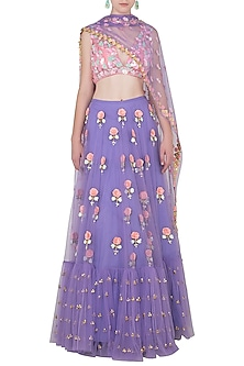Lilac Lehenga and Glass Tube Blouse with Rosette Dupatta by Papa Don't Preach by Shubhika