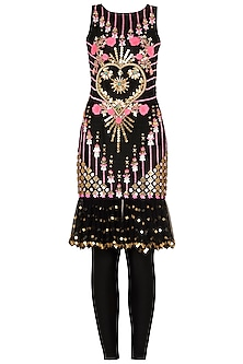 Black Heart Embroidered Short Dress and Matching Leggings by Papa Don't Preach by Shubhika