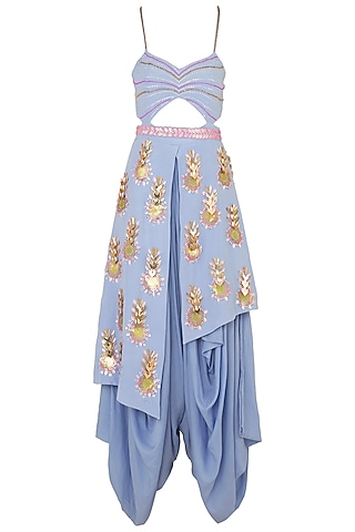 Lilac Cut Out Drape Dhoti Jumpsuit and Embroidered Belt by Papa Don't Preach by Shubhika