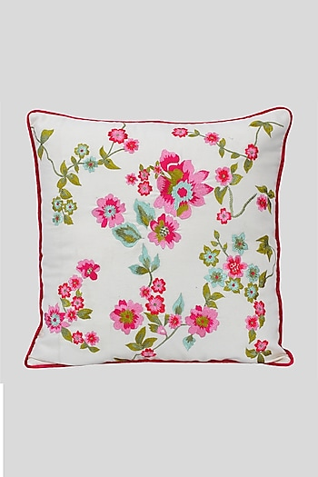 Beige Cotton Embroidered Cushion Cover With Fillers by Perenne Design