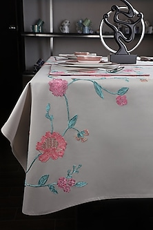 Beige Cotton Embroidered Table Cloth by Perenne Design