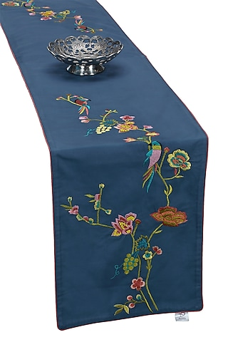 Blue Cotton Embroidered Table Runner by Perenne Design