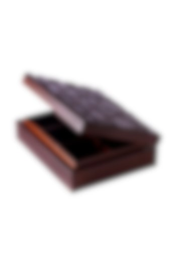Chocolate Brown Wood Abstract & Geometric Tea Box by Perenne Design