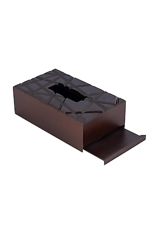 Chocolate Brown Wood Abstract & Geometric Tissue Box by Perenne Design