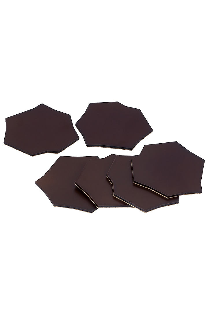 Chocolate Brown Wood Coaster Set (Set of 6) by Perenne Design