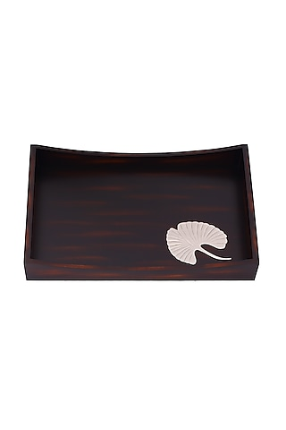 Brown Wood Serving Tray With Metal Motif by Perenne Design