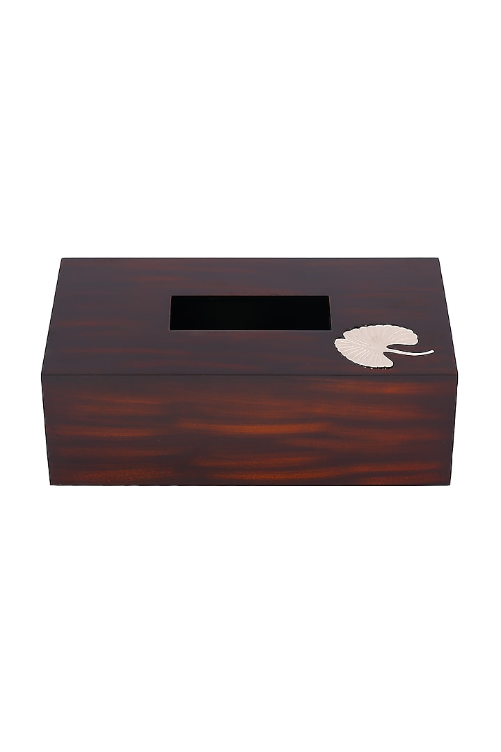 Brown Wood Tissue Box With Metal Motif by Perenne Design