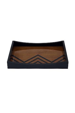 Brown Wood & Veneer Chevron Serving Tray by Perenne Design