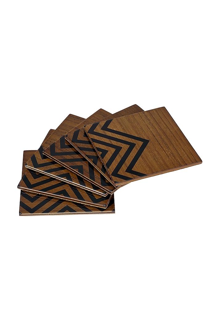 Brown Wood Coaster Set (Set of 6) by Perenne Design