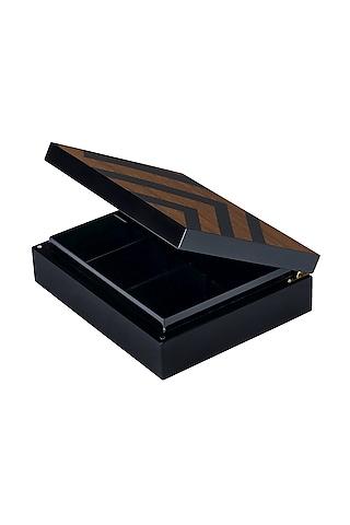 Brown Wood & Veneer Chevron Tea Box by Perenne Design