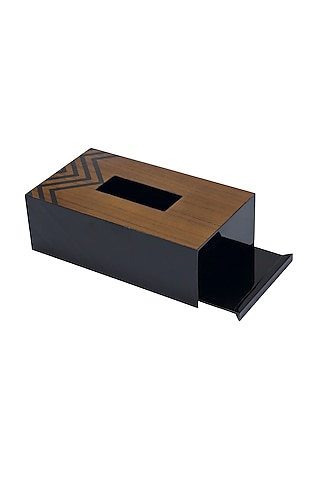 Brown Wood & Veneer Chevron Tissue Box by Perenne Design