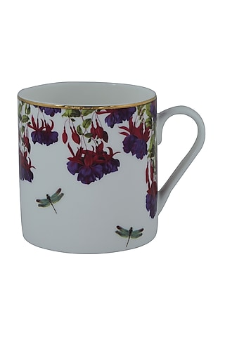 White Fine Bone China Floral Mug (Set of 4) by Perenne Design