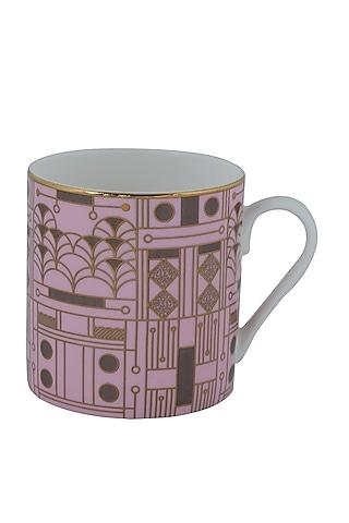 Salmon Pink Gold & Fine Bone China Mug (Set of 4) by Perenne Design