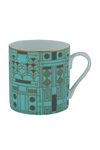 Aqua Green Gold & Fine Bone China Mug (Set of 4) by Perenne Design