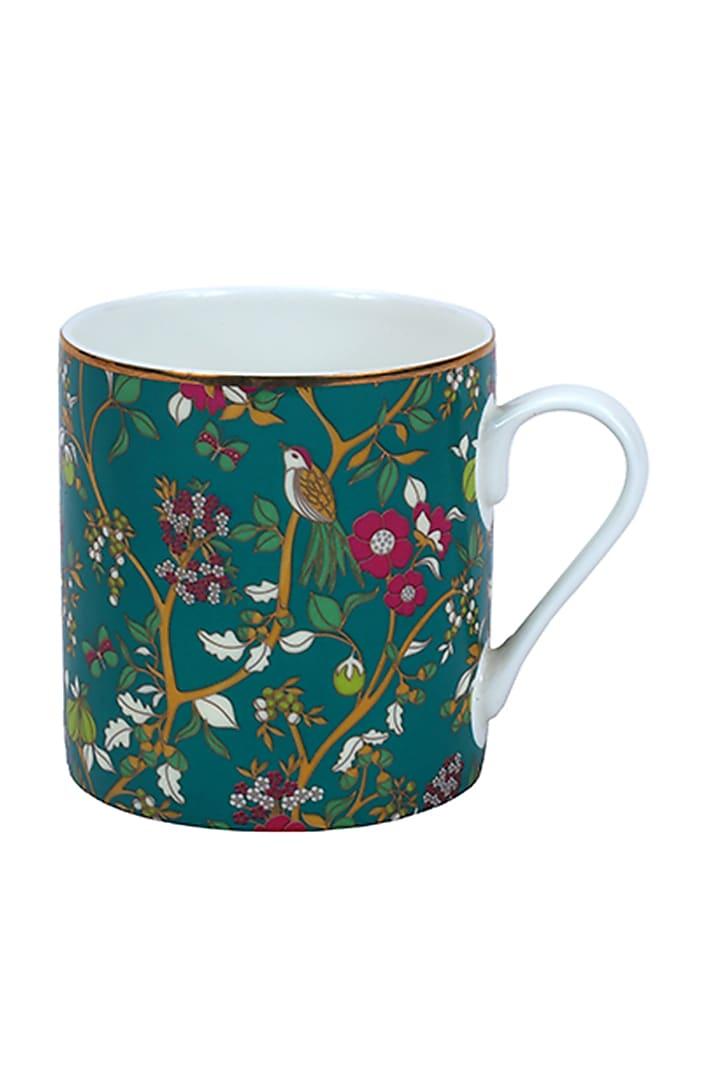 Pine Green Gold & Fine Bone China Mug (Set of 4) by Perenne Design