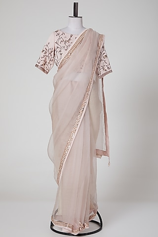 Blush Pink Embroidered Saree Set by Pooja Peshoria