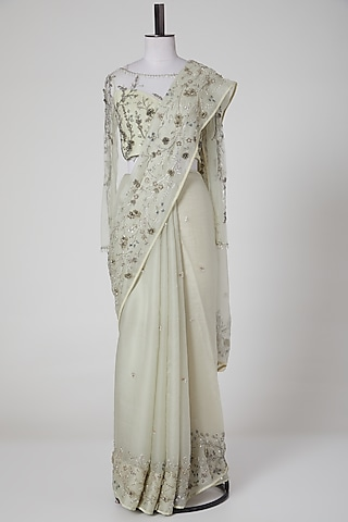 Mint Green Embroidered Saree Set by Pooja Peshoria