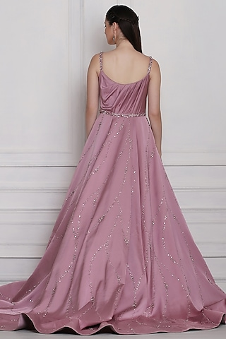 Mauve Beads Embroidered Gown by Pooja Peshoria