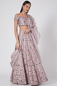 Mauve Embroidered Lehenga Set by Pooja Peshoria-POPULAR PRODUCTS AT STORE