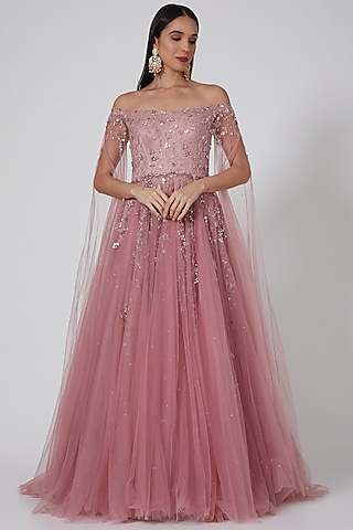 Old Rose Embroidered Gown by Pooja Peshoria