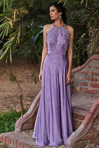 Purple Hand Embroidered Gown by Pooja Peshoria