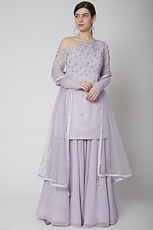 Purple Embroidered Sharara Set by Pooja Peshoria