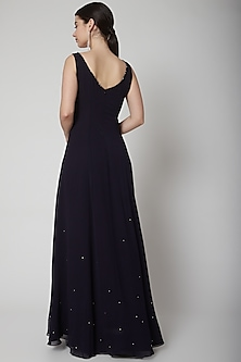 Midnight Blue Embroidered Gown by Pooja Peshoria