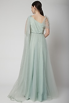 Mint Green Embroidered Gown With Belt by Pooja Peshoria