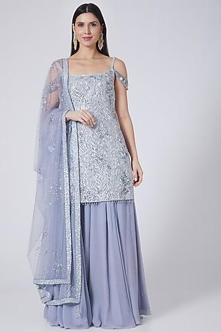 Lilac Silk Habutai Sharara Set by Pooja Peshoria