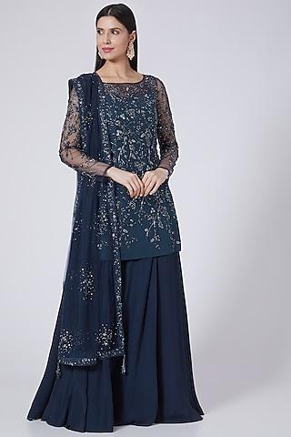 Navy Blue Silk Sharara Set by Pooja Peshoria