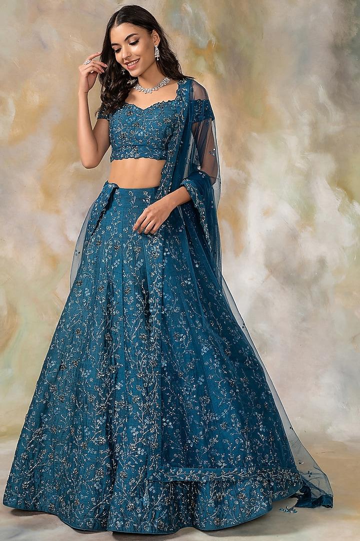 Midnight Blue Embellished Lehenga Set by Pooja Peshoria