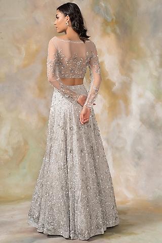 Grey Embellished Lehenga Set by Pooja Peshoria
