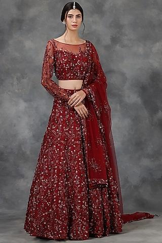 Wine Embellished Lehenga Set by Pooja Peshoria