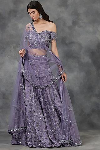 Violet Embellished Lehenga Set by Pooja Peshoria